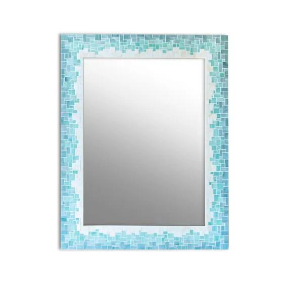 mosaic mirror bathroom mirror gradient tile mirror for etsy