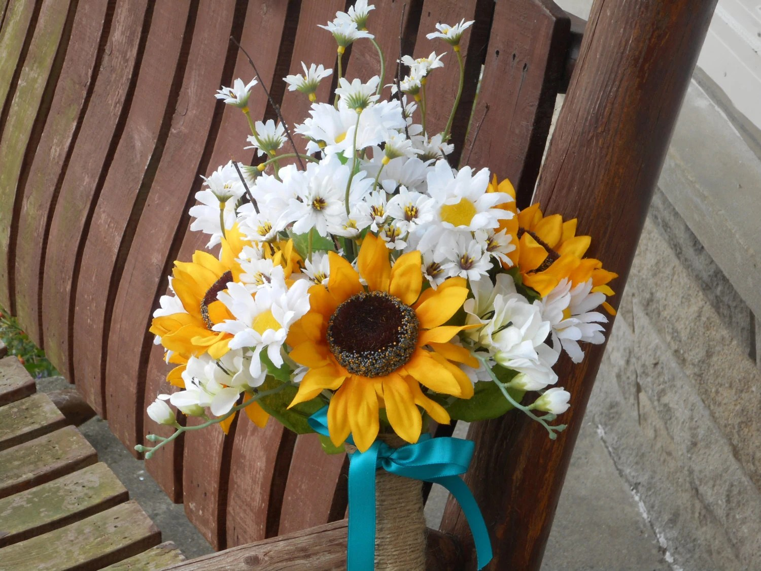 Sunflower And Daisy Silk Bridal Bouquet / Country Wedding