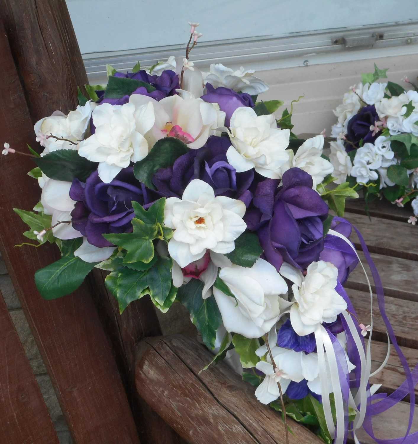 Purple and White Real Touch Rose Cascading Silk Bridal