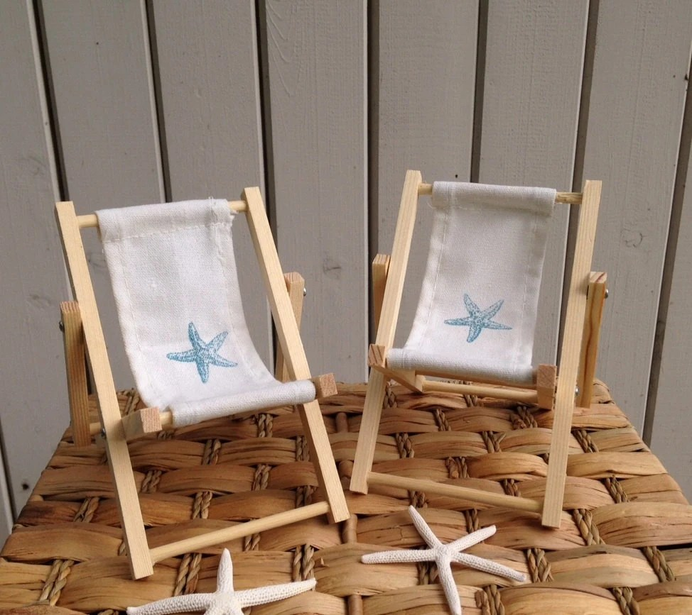 canvas beach chair western painted chairs etsy starfish cake decoration back pair deck lounge topper folding unpainted wood