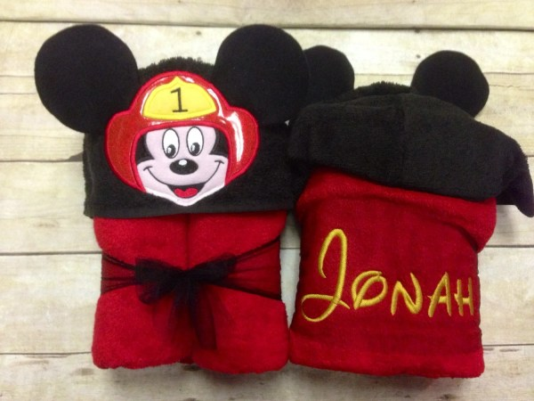 Mickey Mouse Fireman Hooded Towel Firefighter