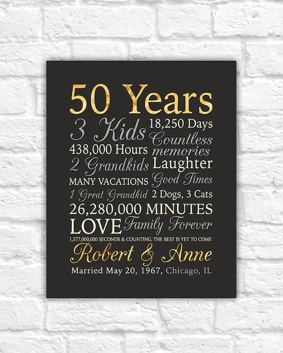 50th anniversary gift gold