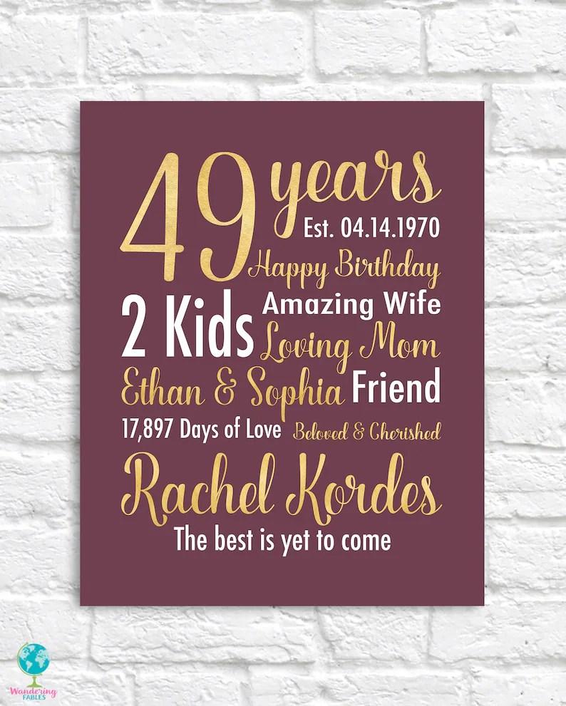 49th birthday gift 49