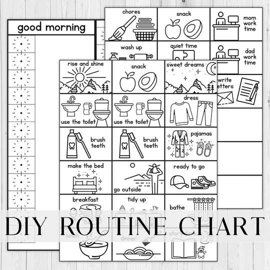Visual Schedule Toddler and Kids Routine Chart Printable