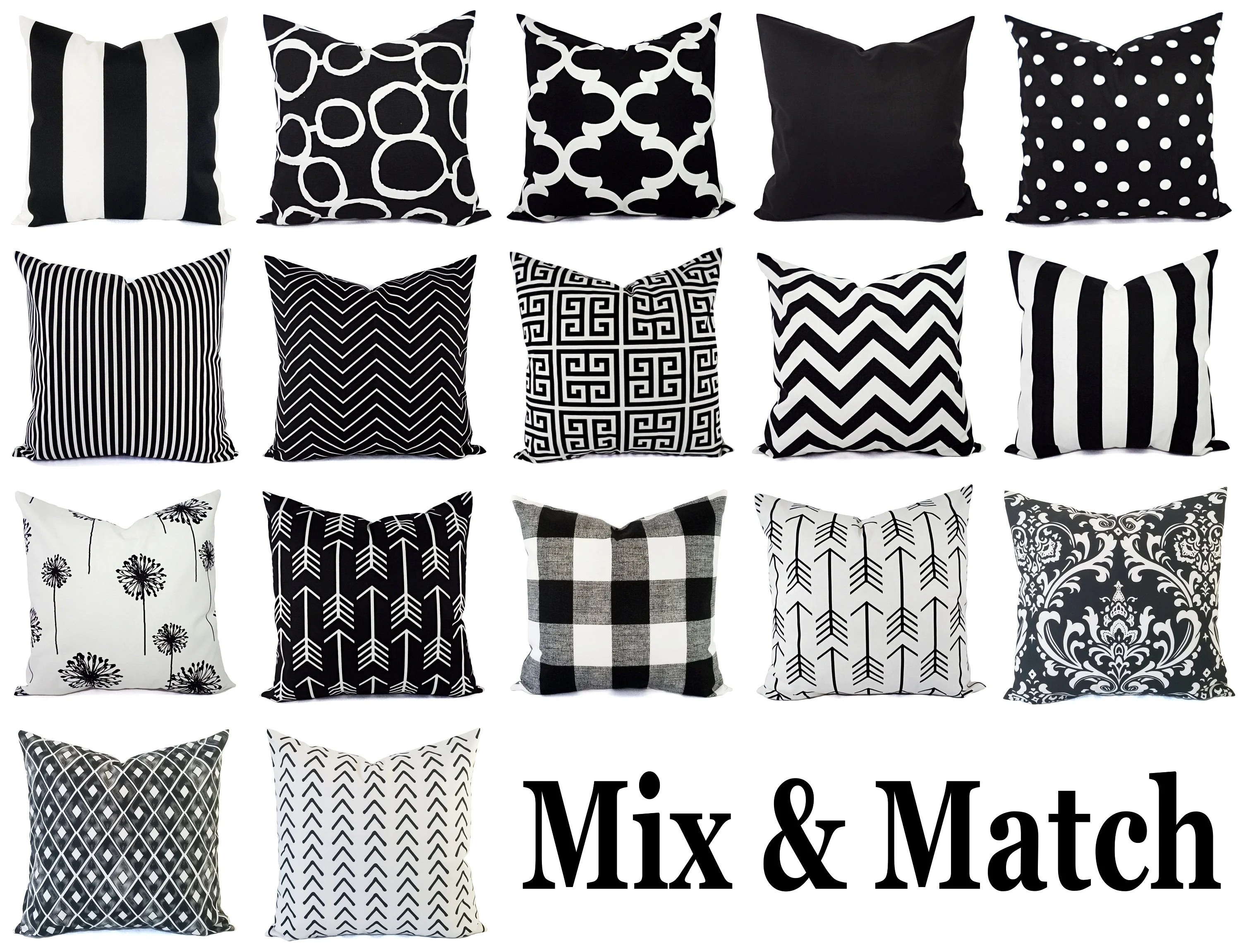 black pillow covers black and white pillows black accent pillow black pillow sham couch pillow white pillow cover black pillows