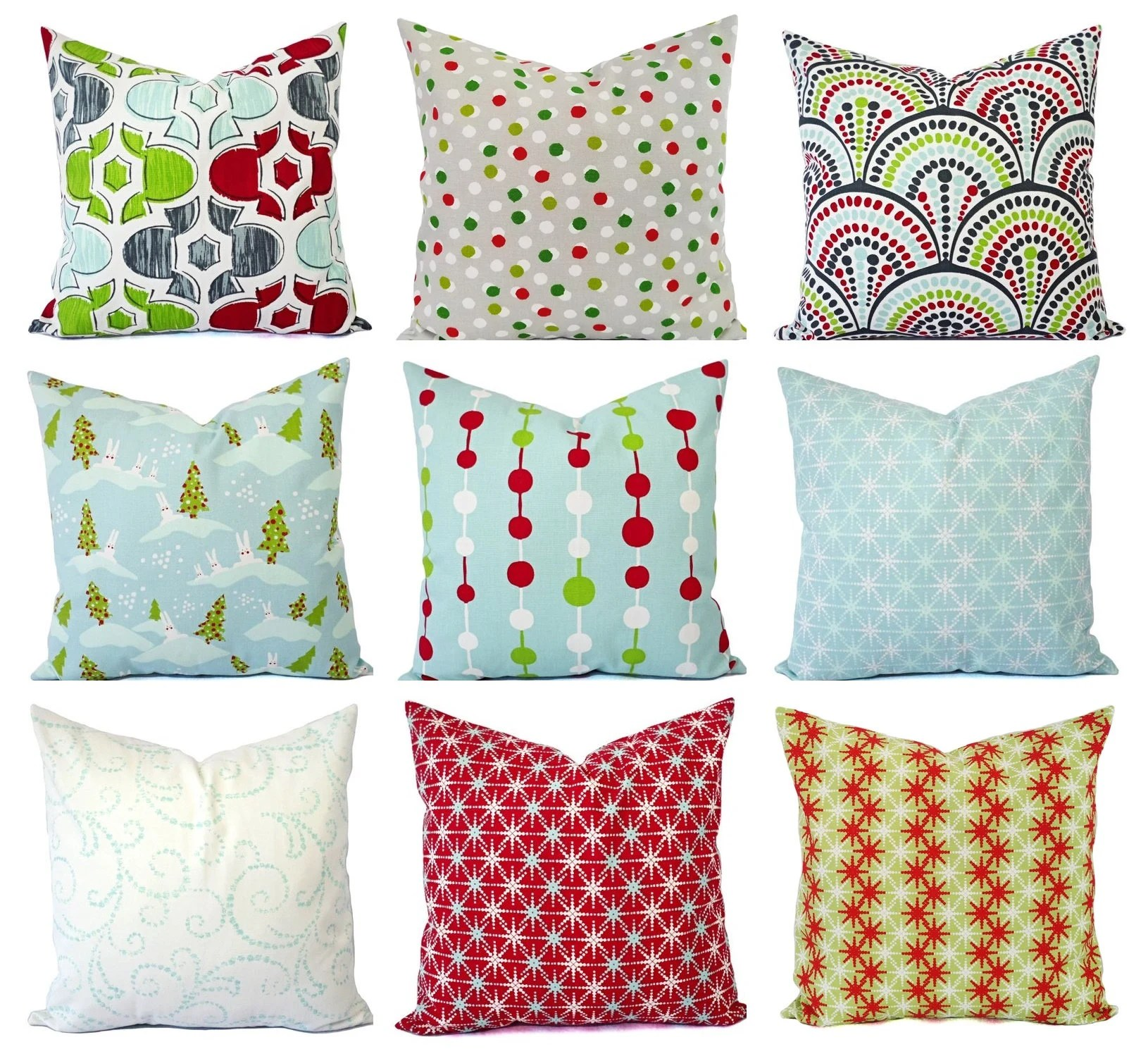 holiday pillow covers red