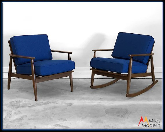 arm chair rocker cushion covers walmart 60s mid century modern pair 2 blue baumritter side chairs etsy image 0