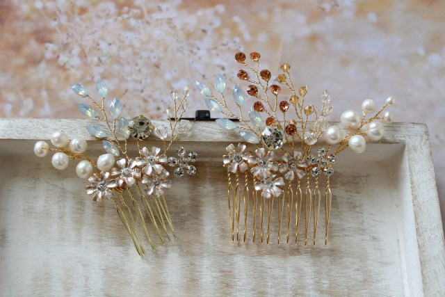 2 gold wedding hair combs bridal hair comb wedding hair piece flower pearl crystal hair comb wedding headpiece opal bridal accessories uk