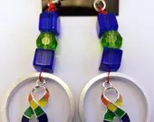 Pride ribbon computer hard drive spindle ring earrings