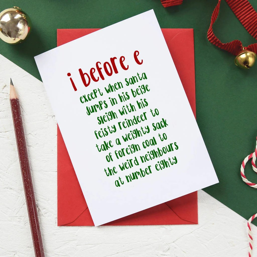 Funny Christmas Card I Before E Grammar Police Holiday