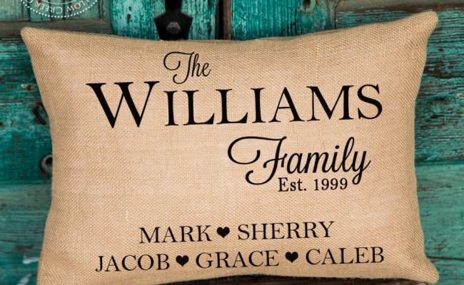 Gift For Mom Housewarming Gift Family Name Pillow Etsy