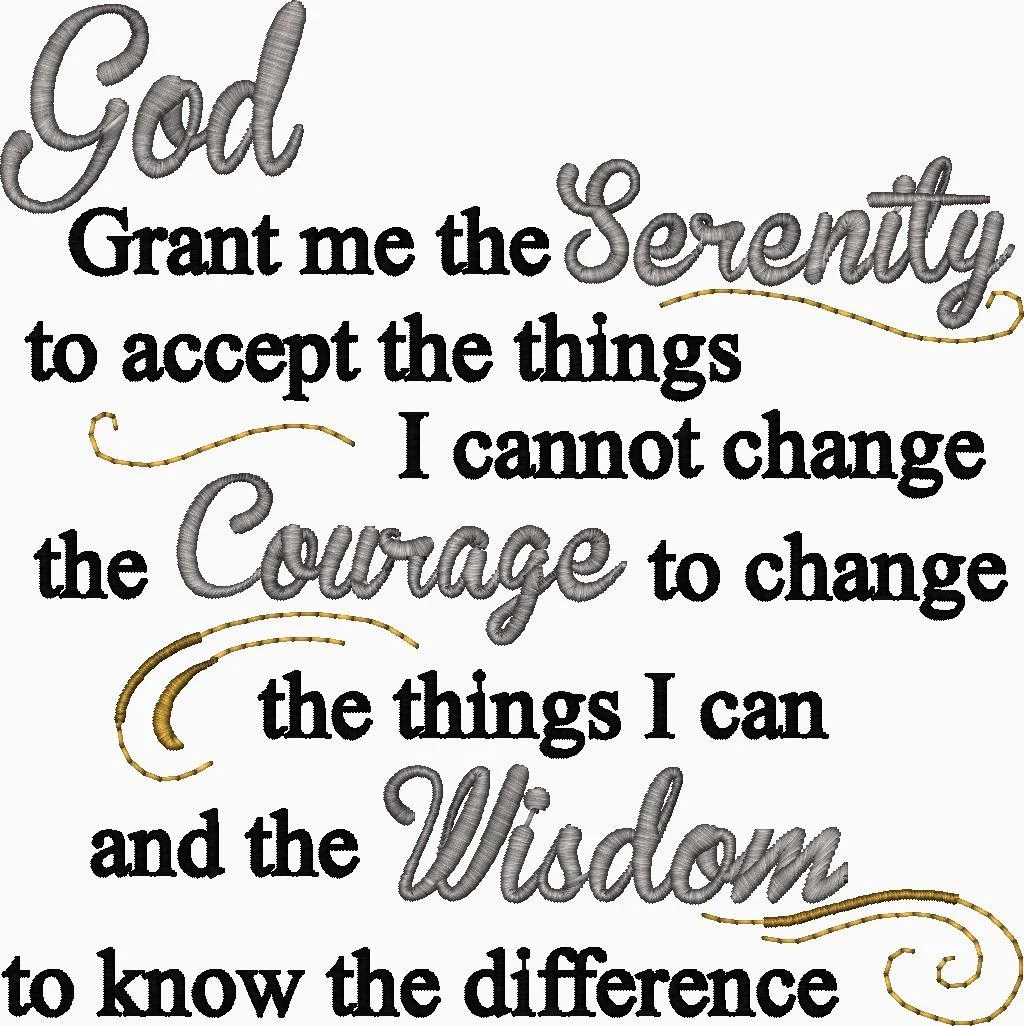 Serenity Prayer Embroidery Design God Grant me the