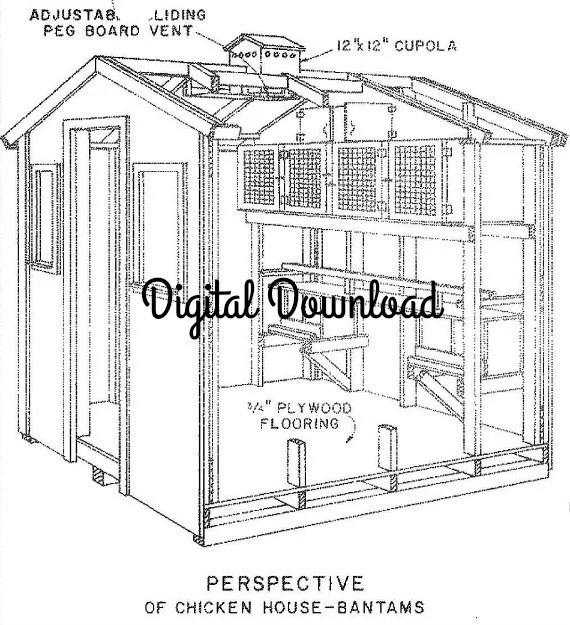 Chicken/Pigeon Coop Blueprints Hen House Nest Boxes