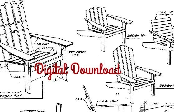 adirondack chair blueprints louis ghost chairs blueprint vintage woodworking plans patio etsy image 0
