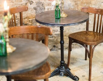 antique french bistro table and chairs christmas chair covers dubai etsy b i s t r o vintage style zinc top cafe iron tripod leg riveted