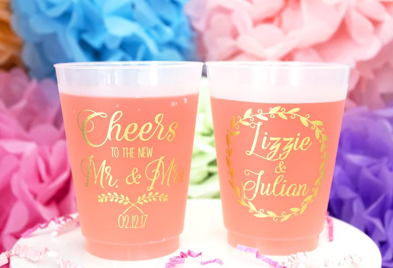 personalized plastic cup wedding