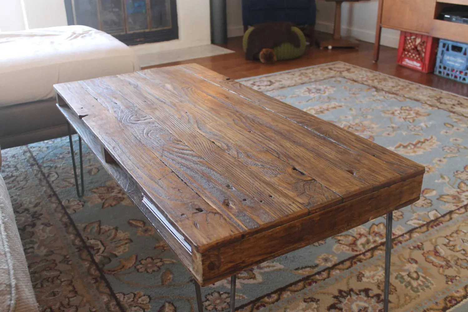 reclaimed wood coffee table on hairpin legs pallet style with cubby storage mid century industrial farmhouse rustic