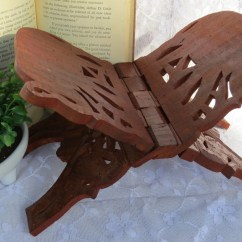 Chair Side Book Stand Stretchy Covers Carved Wood Folding Display Elelphant Holder Etsy Image 0