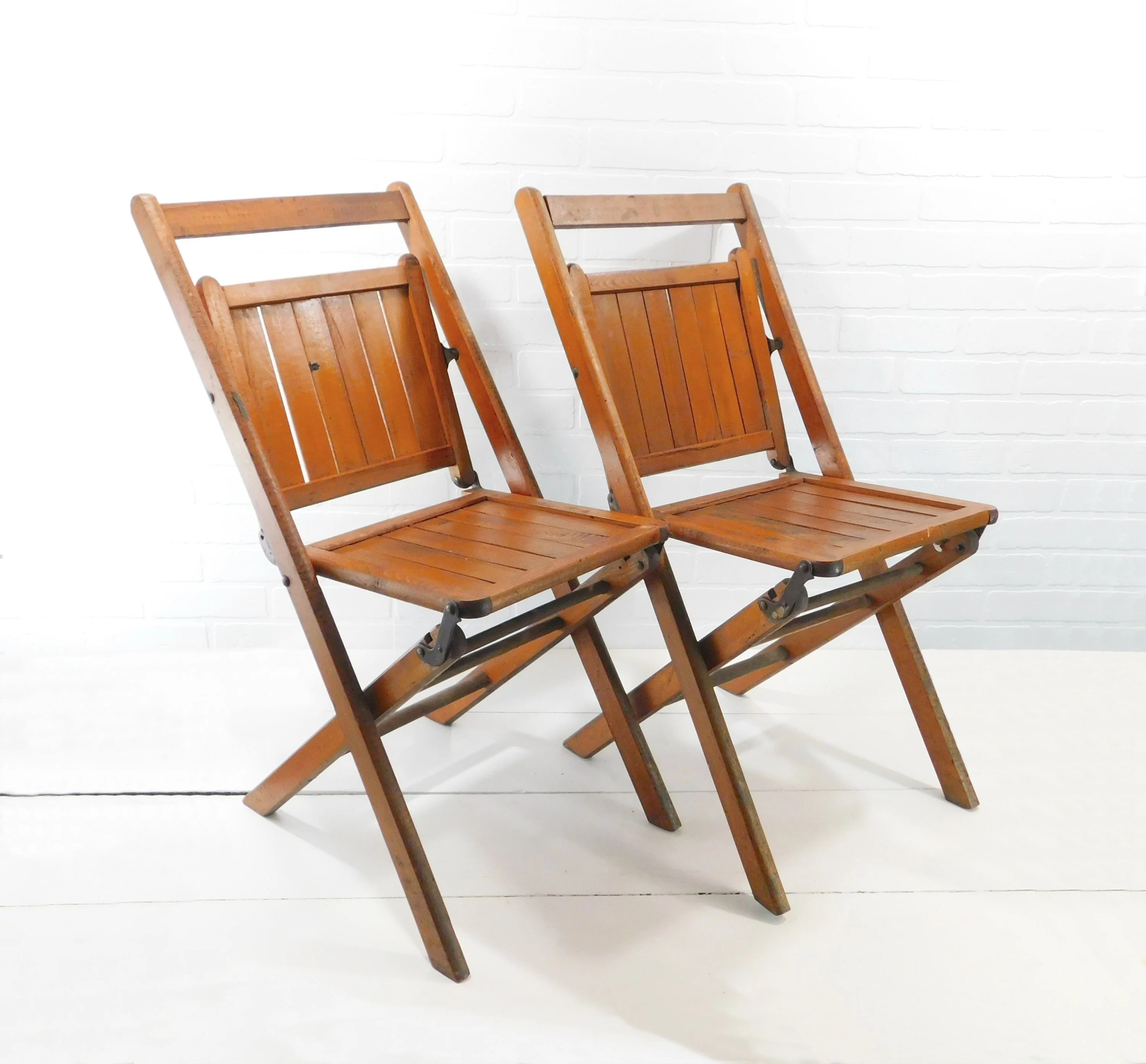 folding wooden chairs office stool chair etsy pair of vintage wood slatted picnic patio event seating wedding glamping c5