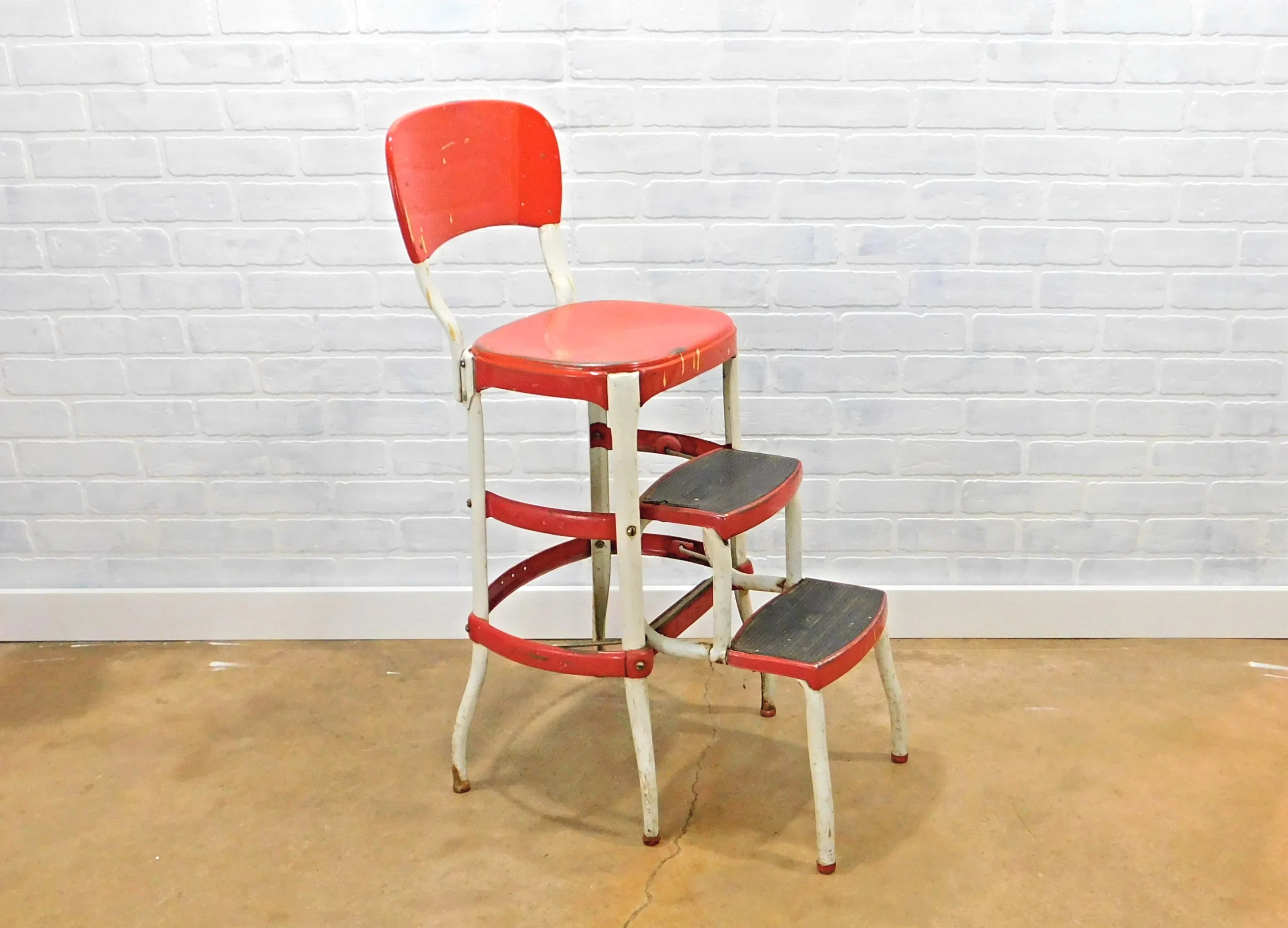 cosco kitchen stool chair baby portable high safety harness red white step vintage etsy image 0