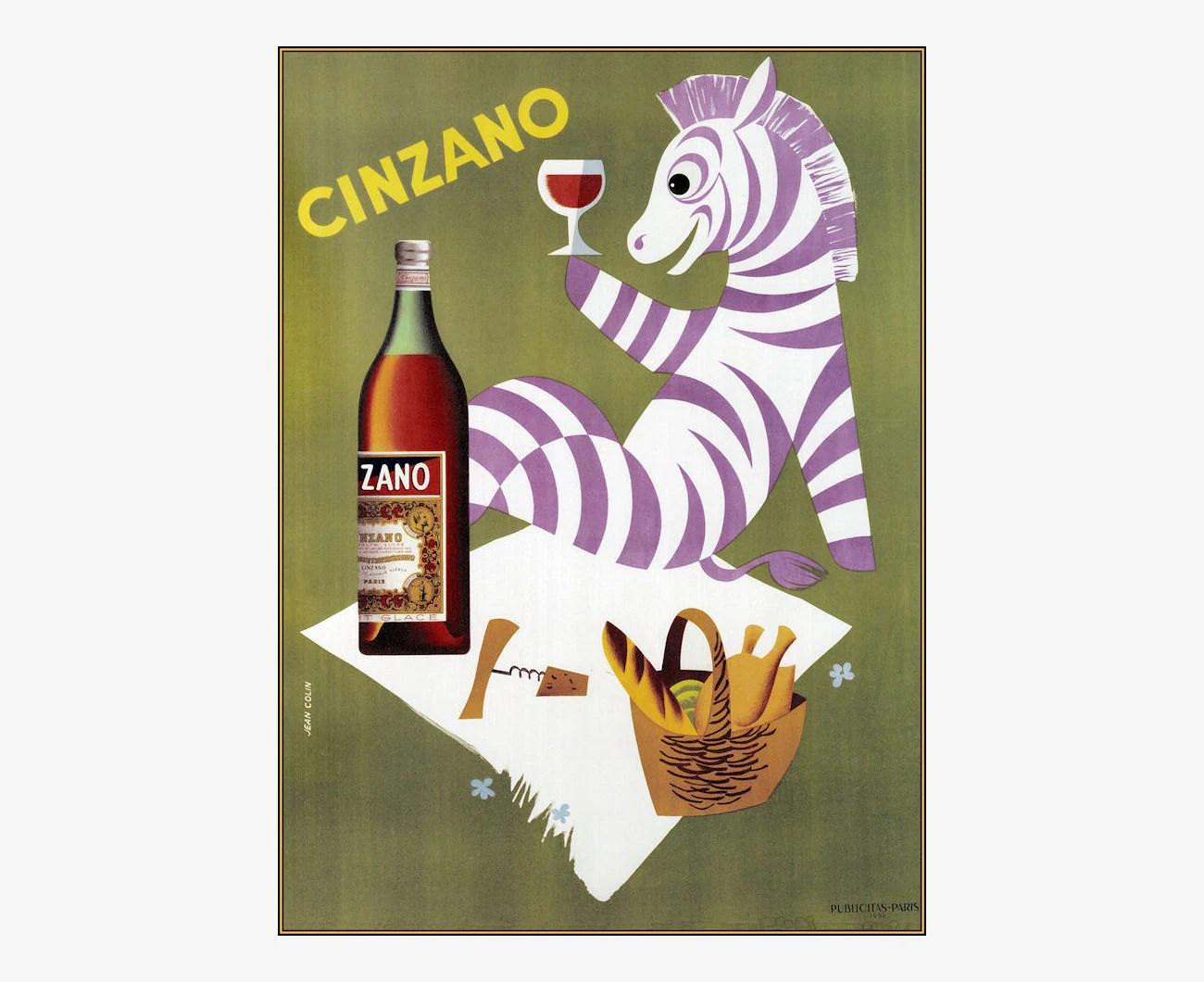 Cinzano Purple Zebra Vintage Poster Vintage Art Print