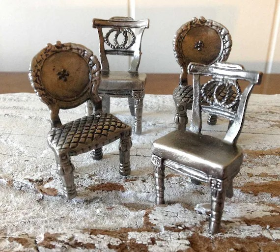 pewter chair therapist for sale 8 miniature placecard holders table decor mini etsy image 0