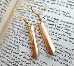 gold fountain pen nipp drop earrings gift for writer