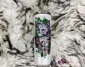 Sugar Skull Tattoo Glitter Tumbler Glittered Covered Butterfly Cup Customized Custom Birthday Gift for Her