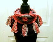 Red, Gray and Purple Funky Cowl with fringe