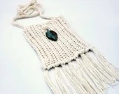 Ivory Boho Crossbody Bag with Patina Leaf Embellishment and Fringe