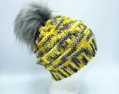 MIA Sunshine Beanie w/PomPom in yellow and gray