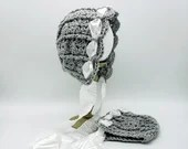 Heirloom 'Ohana Bonnet in 'Dove' with crinkled white ribbon