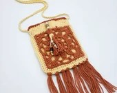 Boho Crossbody Beaded Tassel Bag in Melon and Sunshine