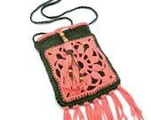 Boho Crossbody Beaded Tassel Bag in 'Coral' and 'Olive'