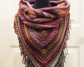Hooded Scarf with Fringe in 'Desert Spring'