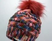 Colorful Textured Beanie w/Faux Fur Pom Pom