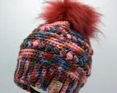 Colorful Textured Beanie w/Faux Fur Pom Pom