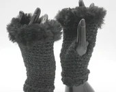 Fur Trimmed Wrist Warmers in black on black