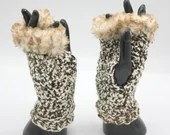 Fur Trimmed Wrist Warmers in 'Leatherbound' browns and creams