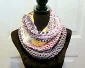 Unfringed Cowl in 'Stones Throw' color way with pink, yellow, white, and gray