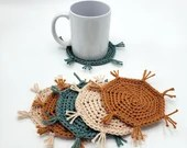 Set of 6 Cotton Mug Rugs in caramel, teal, antique cream