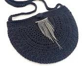 Black Crossbody Bag w/ Brass & Rhinestone embellishment