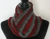 Wool Unisex Cowl in red & gray