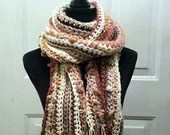 Long Classic Style Boho Scarf with bobbles & fringe in 'Rose Garden' - ivory, gray, burgundy, pink, orange