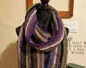 Long Classic Style Boho Scarf in Greens and Purples