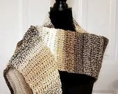 Asymmetrical Shawl/Scarf in 'Hazel' with Scarf Pin