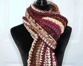Long Classic Style Boho Scarf in magenta beige burgundy ivory