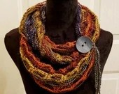 Fashion Crochet Scarf in 'Woodlands' w/Tie & Button