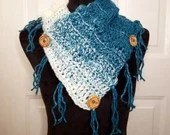 Fringed Cowl Scarf - 4 Colors Available - teal, black, coastal and green