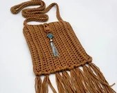 Caramel Boho Crossbody Bag with Turquoise and Silver Embellishment and Fringe